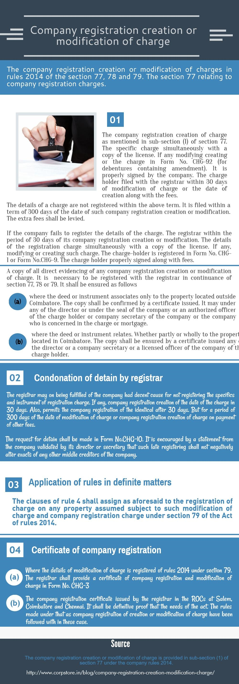 Company registration creation or modification of charge